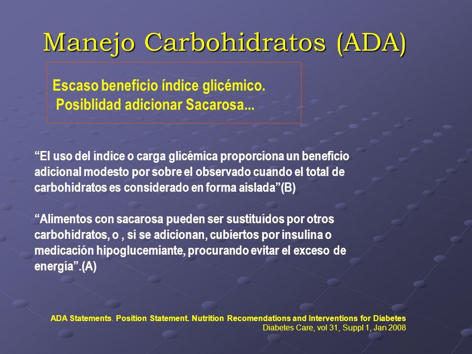 Manejo Carbohidratos (ADA) Escaso beneficio índice glicémico. Posiblidad adicionar Sacarosa... El uso del índice o carga glicémica proporciona un bene