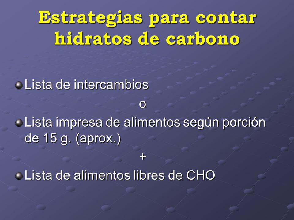 Estrategias para contar hidratos de carbono Lista de intercambios o Lista impresa de alimentos según porción de 15 g. (aprox.) + Lista de alimentos li