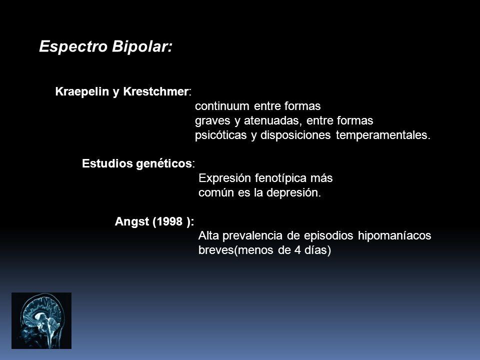 Espectro Bipolar: Kraepelin y Krestchmer: continuum entre formas graves y atenuadas, entre formas psicóticas y disposiciones temperamentales. Estudios
