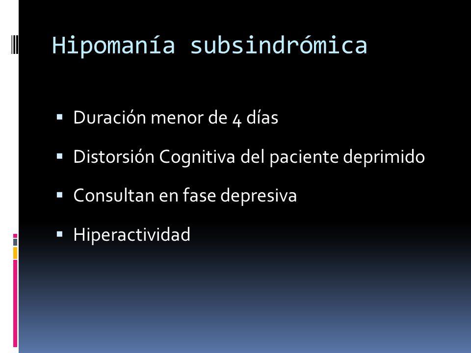 Hipomanía subsindrómica Duración menor de 4 días Distorsión Cognitiva del paciente deprimido Consultan en fase depresiva Hiperactividad