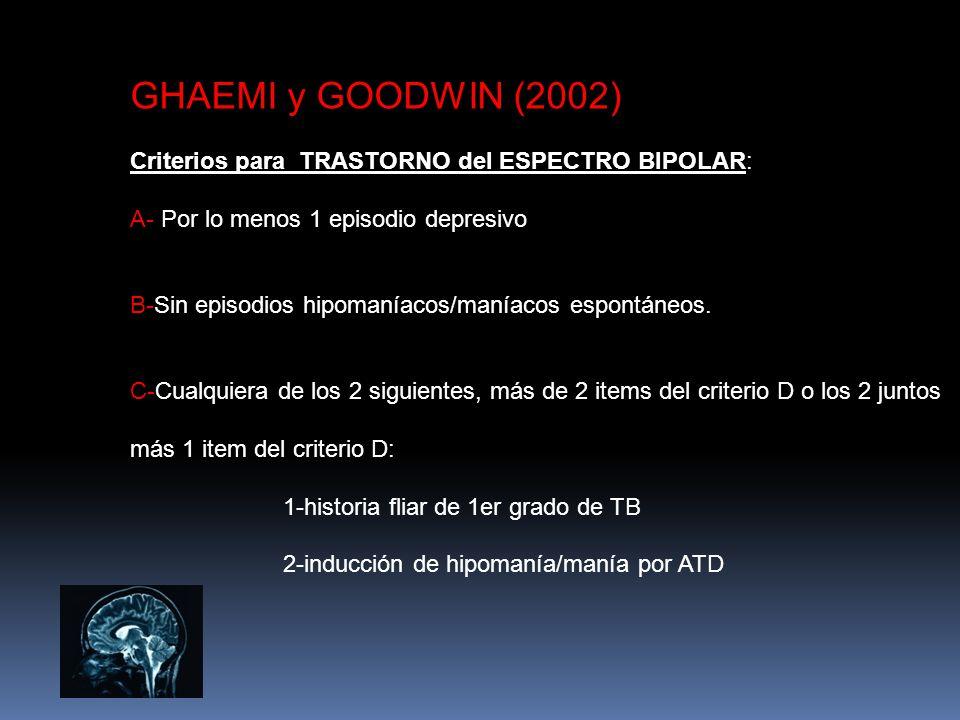 GHAEMI y GOODWIN (2002) Criterios para TRASTORNO del ESPECTRO BIPOLAR: A- Por lo menos 1 episodio depresivo B-Sin episodios hipomaníacos/maníacos espo