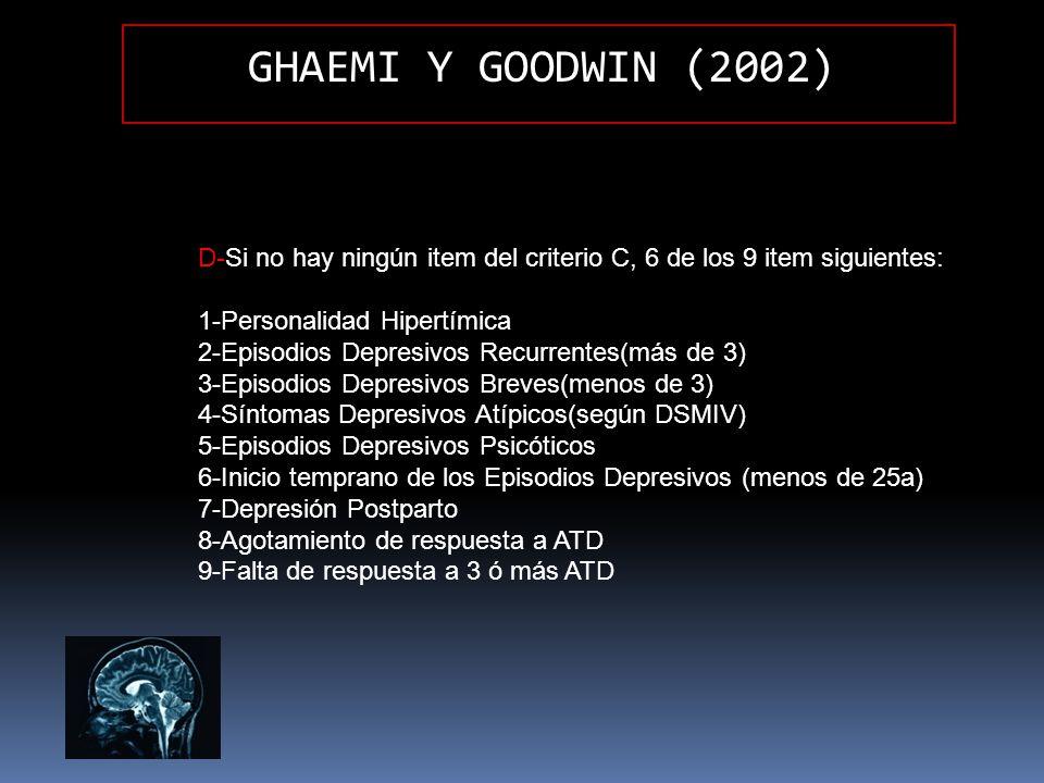 GHAEMI Y GOODWIN (2002) D-Si no hay ningún item del criterio C, 6 de los 9 item siguientes: 1-Personalidad Hipertímica 2-Episodios Depresivos Recurren