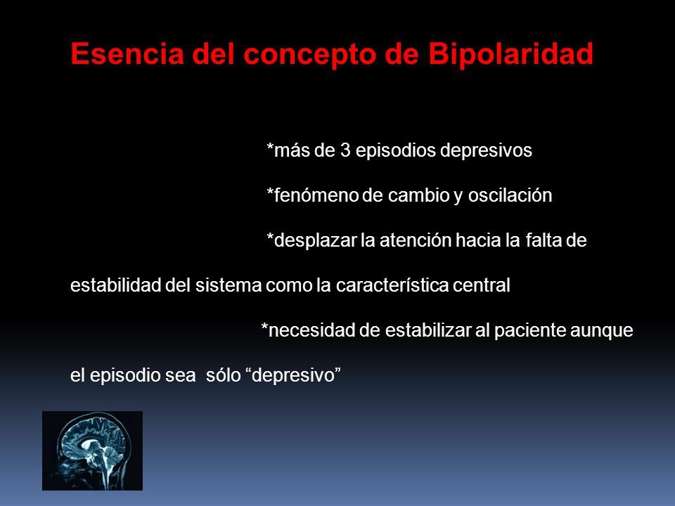 Esencia del concepto de Bipolaridad *más de 3 episodios depresivos *fenómeno de cambio y oscilación *desplazar la atención hacia la falta de estabilid