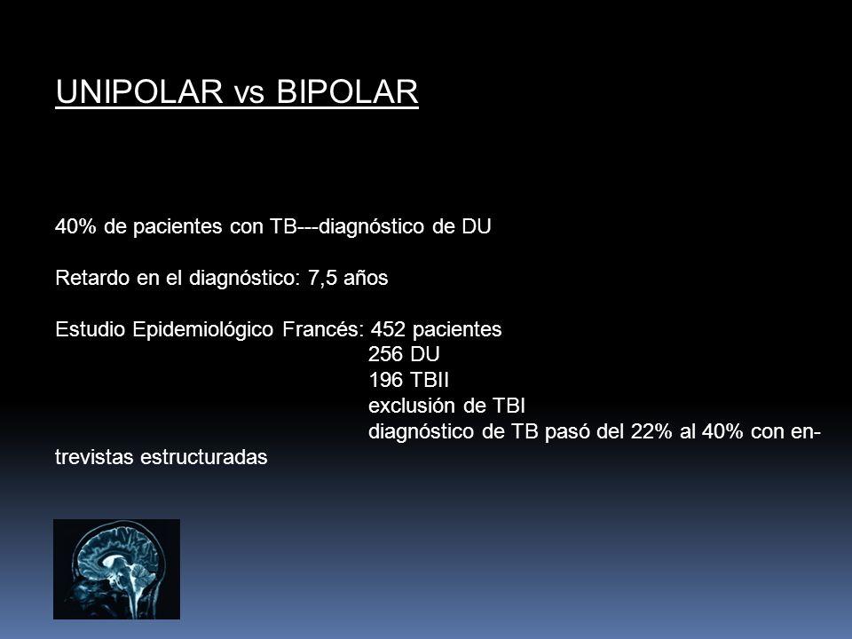 UNIPOLAR vs BIPOLAR 40% de pacientes con TB---diagnóstico de DU Retardo en el diagnóstico: 7,5 años Estudio Epidemiológico Francés: 452 pacientes 256