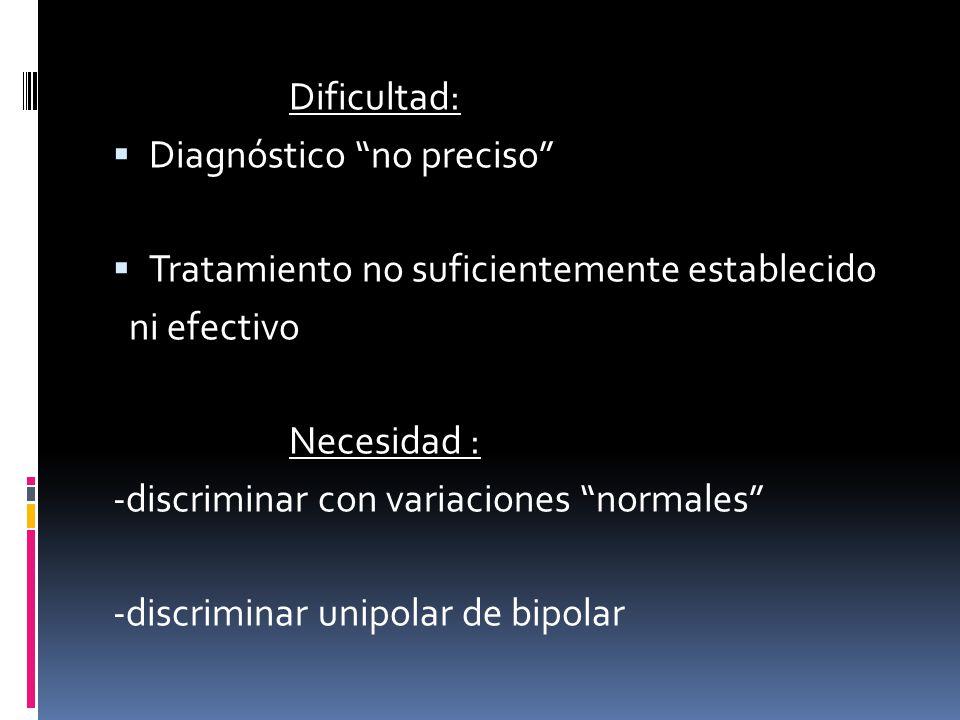 Dificultad: Diagnóstico no preciso Tratamiento no suficientemente establecido ni efectivo Necesidad : -discriminar con variaciones normales -discrimin