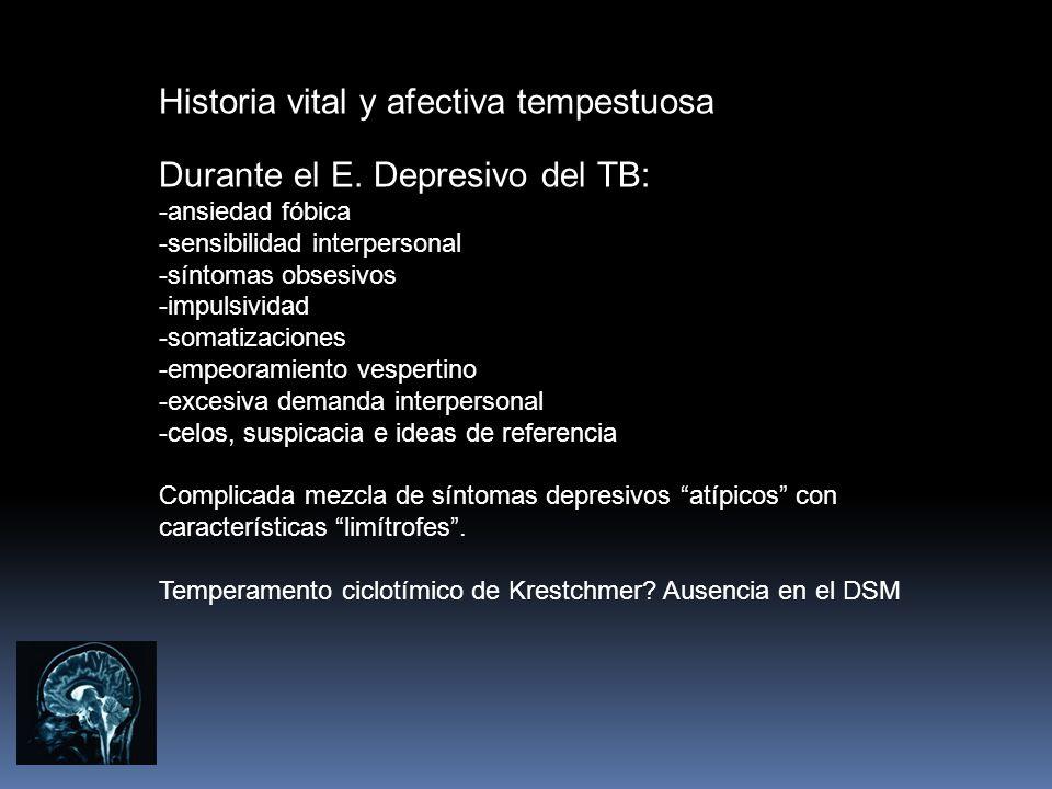 Historia vital y afectiva tempestuosa Durante el E. Depresivo del TB: -ansiedad fóbica -sensibilidad interpersonal -síntomas obsesivos -impulsividad -
