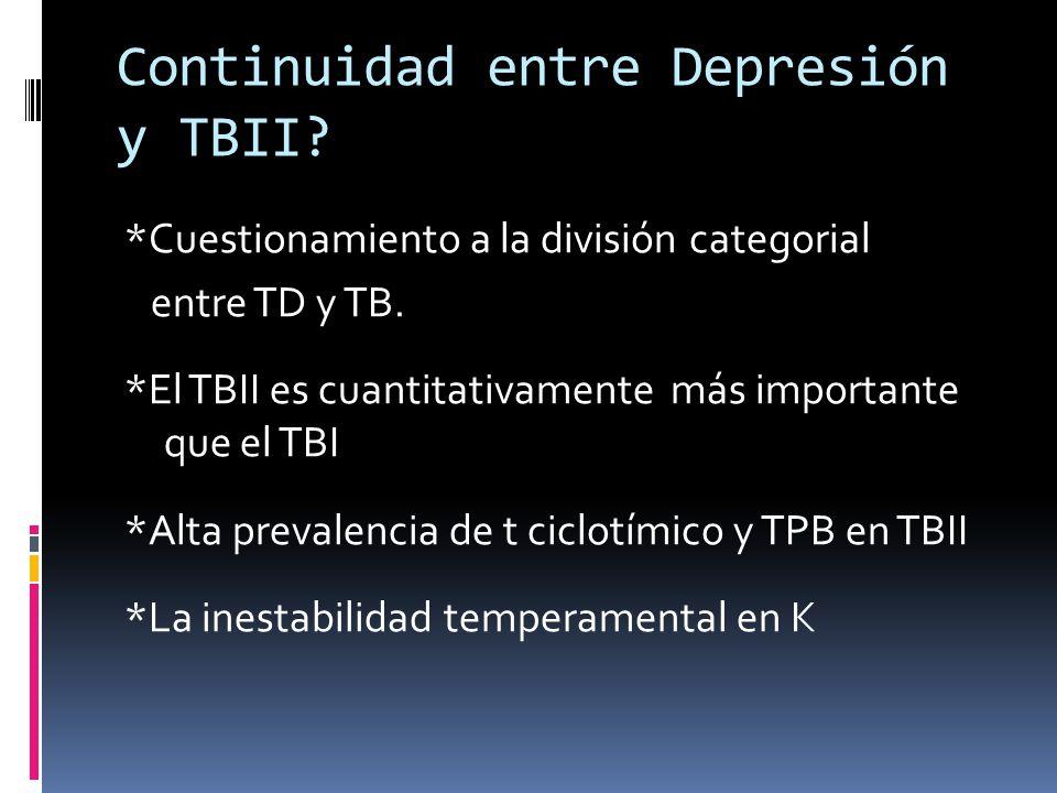 Continuidad entre Depresión y TBII? *Cuestionamiento a la división categorial entre TD y TB. *El TBII es cuantitativamente más importante que el TBI *