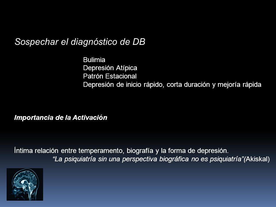 Sospechar el diagnóstico de DB Bulimia Depresión Atípica Patrón Estacional Depresión de inicio rápido, corta duración y mejoría rápida Importancia de