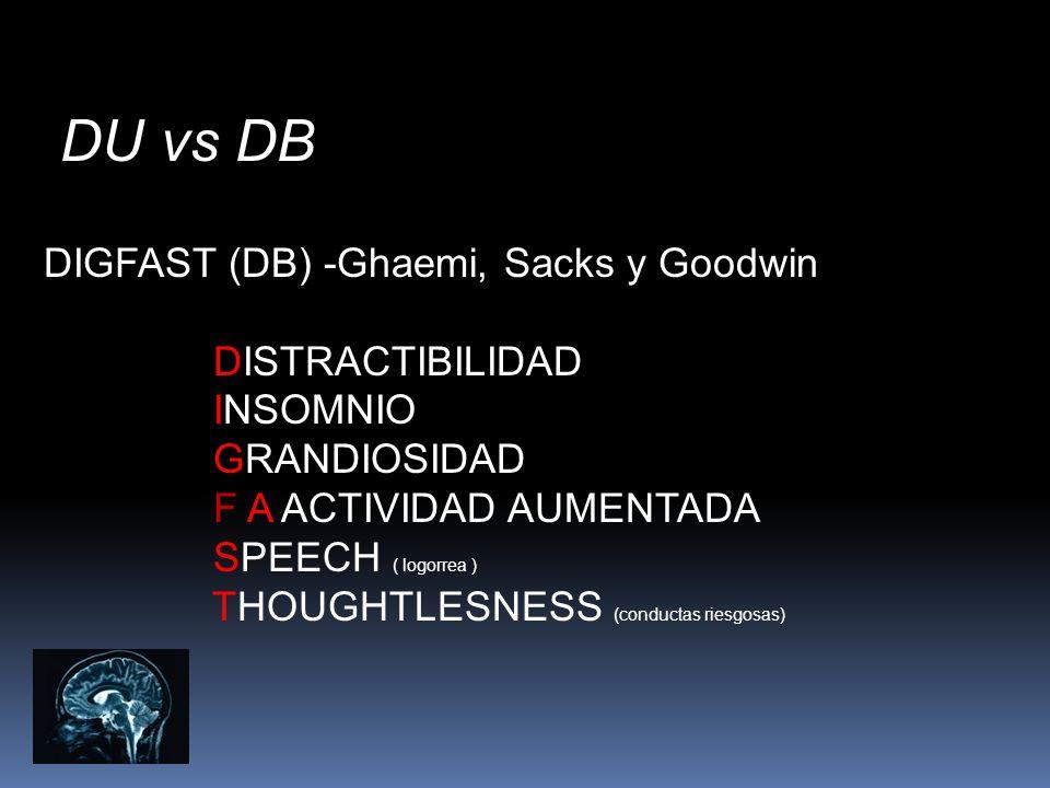 DU vs DB DIGFAST (DB) -Ghaemi, Sacks y Goodwin DISTRACTIBILIDAD INSOMNIO GRANDIOSIDAD F A ACTIVIDAD AUMENTADA SPEECH ( logorrea ) THOUGHTLESNESS (cond