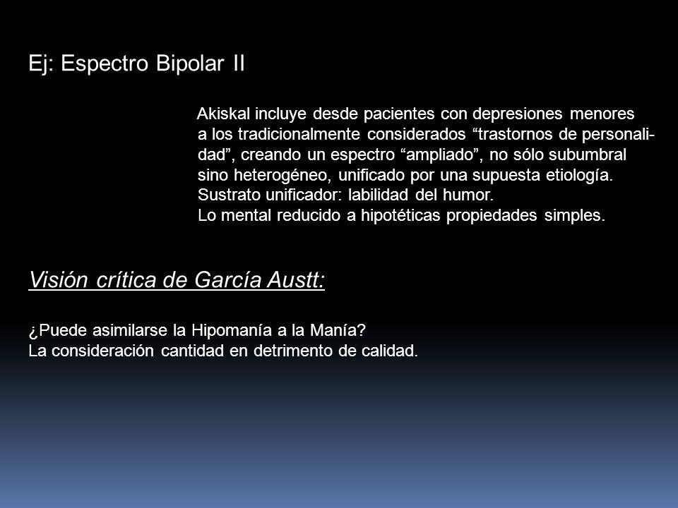 Ej: Espectro Bipolar II Akiskal incluye desde pacientes con depresiones menores a los tradicionalmente considerados trastornos de personali- dad, crea