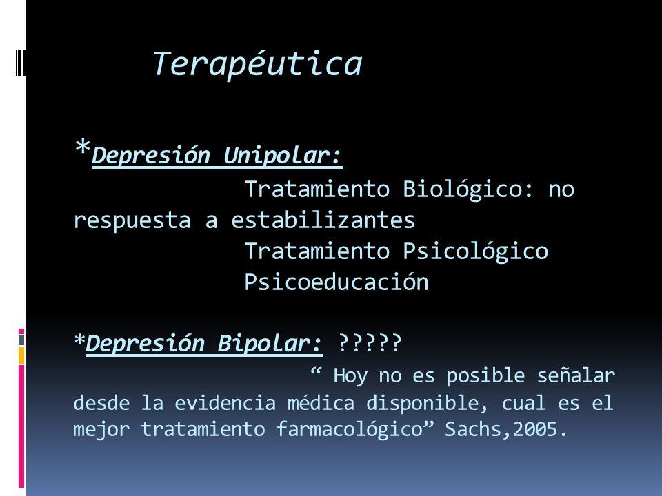 Terapéutica * Depresión Unipolar: Tratamiento Biológico: no respuesta a estabilizantes Tratamiento Psicológico Psicoeducación *Depresión Bipolar: ????