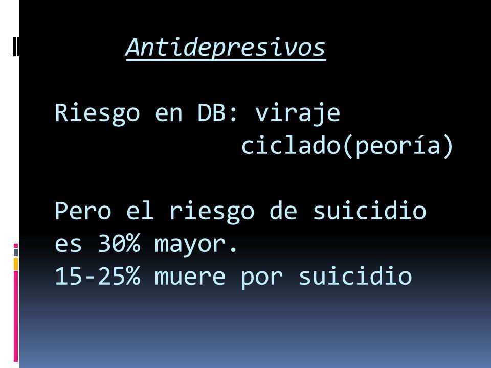 Antidepresivos Riesgo en DB: viraje ciclado(peoría) Pero el riesgo de suicidio es 30% mayor. 15-25% muere por suicidio
