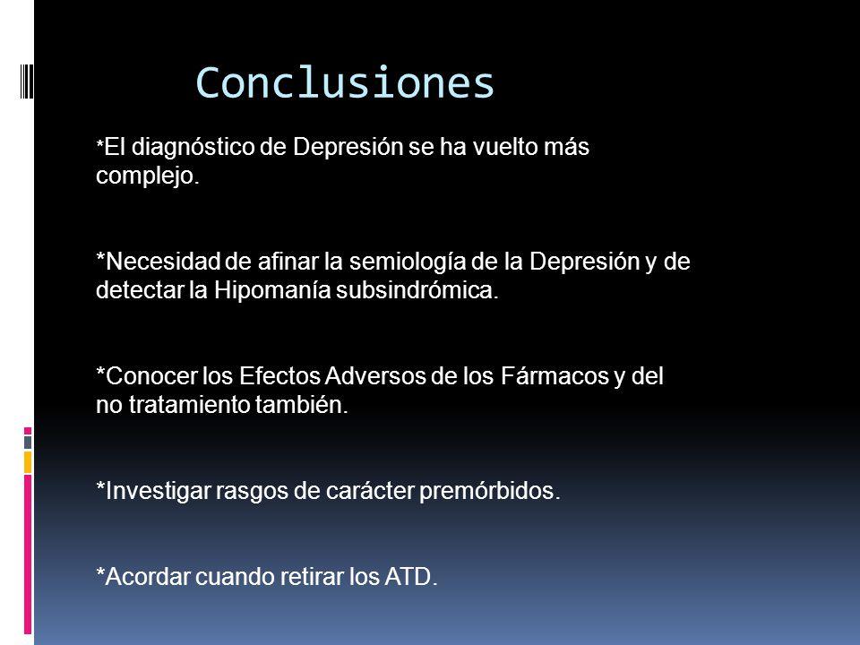 Conclusiones * El diagnóstico de Depresión se ha vuelto más complejo. *Necesidad de afinar la semiología de la Depresión y de detectar la Hipomanía su