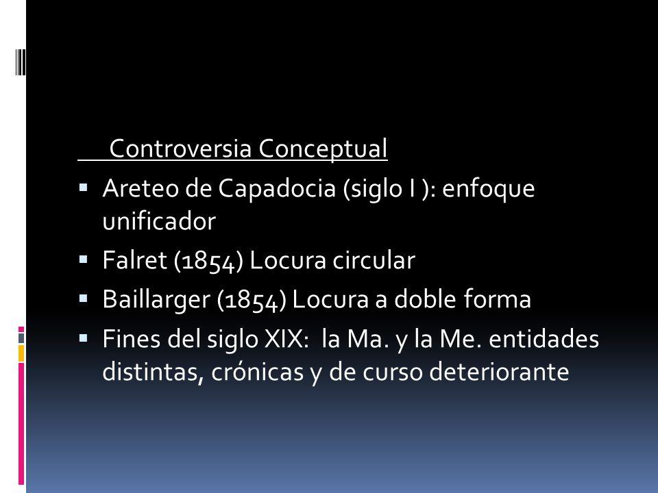 Controversia Conceptual Areteo de Capadocia (siglo I ): enfoque unificador Falret (1854) Locura circular Baillarger (1854) Locura a doble forma Fines