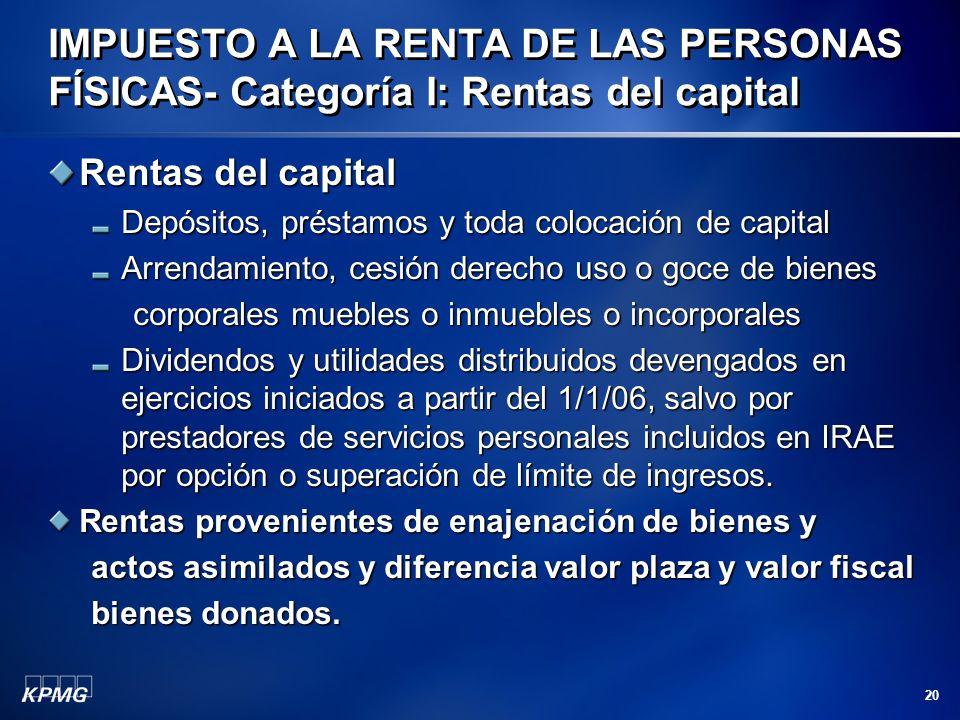 20 Rentas del capital Depósitos, préstamos y toda colocación de capital Arrendamiento, cesión derecho uso o goce de bienes corporales muebles o inmueb
