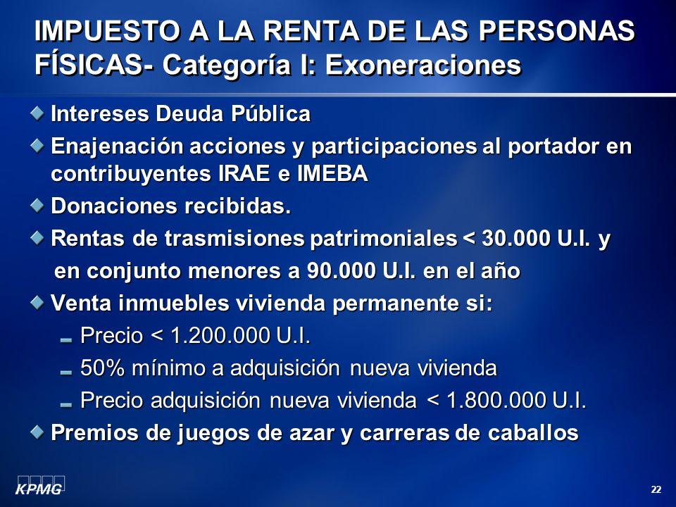 22 Intereses Deuda Pública Enajenación acciones y participaciones al portador en contribuyentes IRAE e IMEBA Donaciones recibidas. Rentas de trasmisio