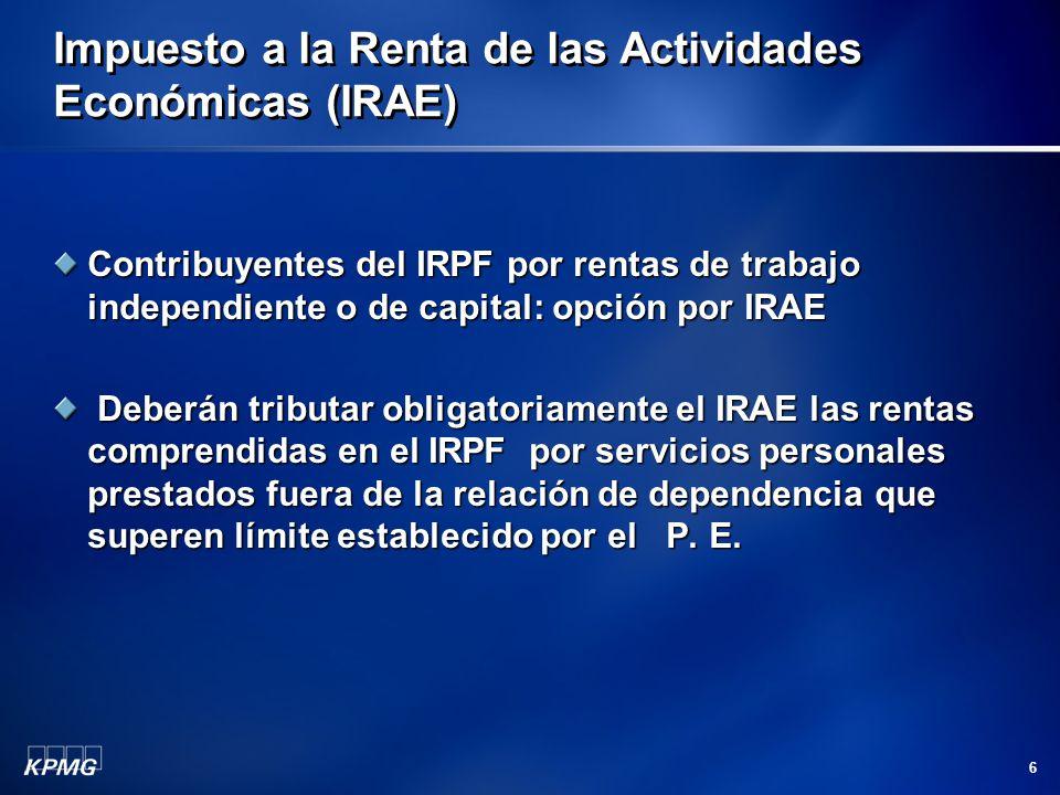 6 Impuesto a la Renta de las Actividades Económicas (IRAE) Contribuyentes del IRPF por rentas de trabajo independiente o de capital: opción por IRAE D