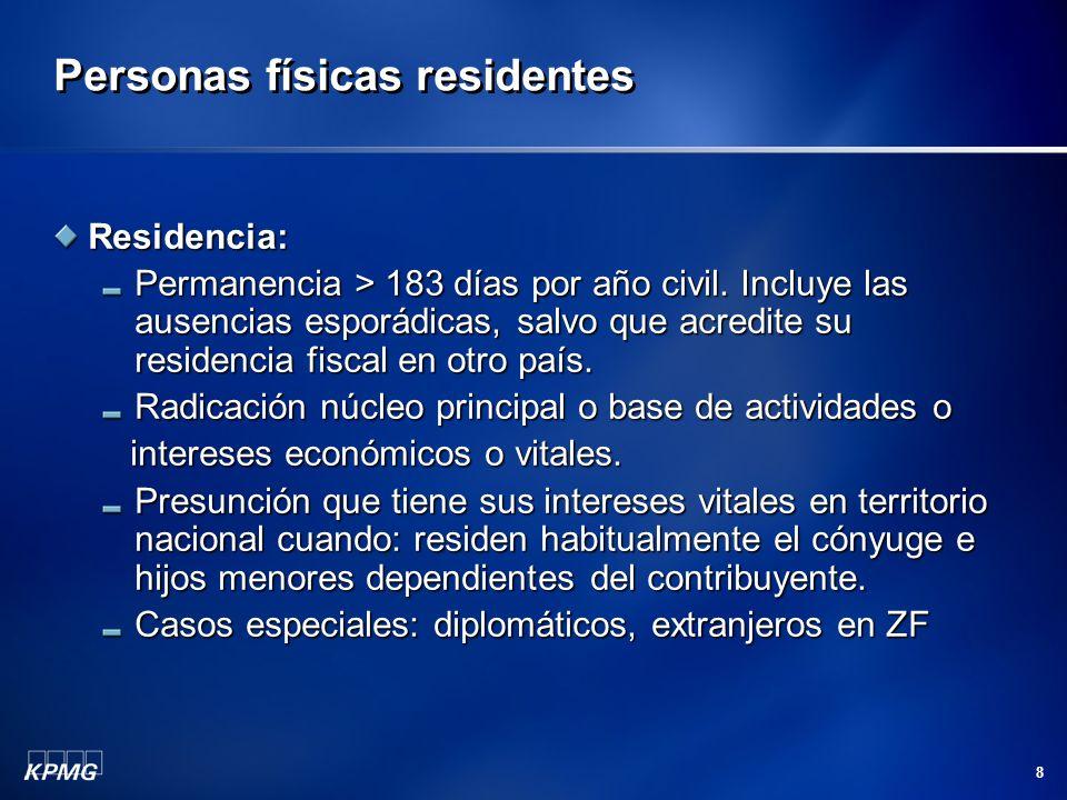 8 Personas físicas residentes Residencia: Permanencia > 183 días por año civil. Incluye las ausencias esporádicas, salvo que acredite su residencia fi