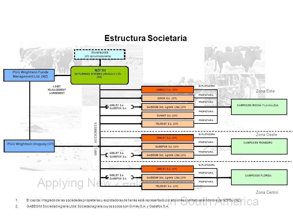 Estructura Societaria 1.El capital integrado de las sociedades propietarias y explotadoras de tierras está representado por acciones nominativas a nombre de NZFSU (NZ).