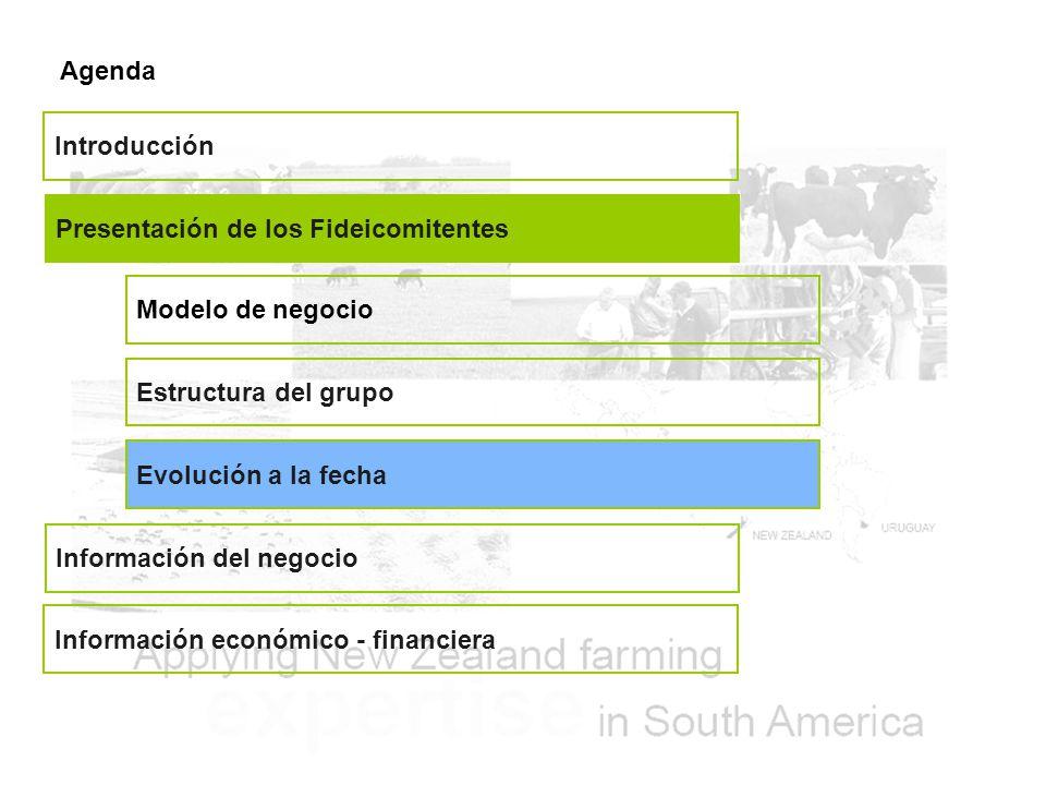 Agenda Presentación de los Fideicomitentes Información del negocio Información económico - financiera Introducción Estructura del grupo Evolución a la fecha Modelo de negocio