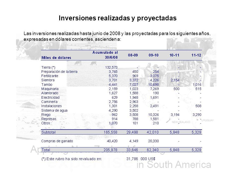 Inversiones realizadas y proyectadas Las inversiones realizadas hasta junio de 2008 y las proyectadas para los siguientes años, expresadas en dólares corrientes, ascienden a: