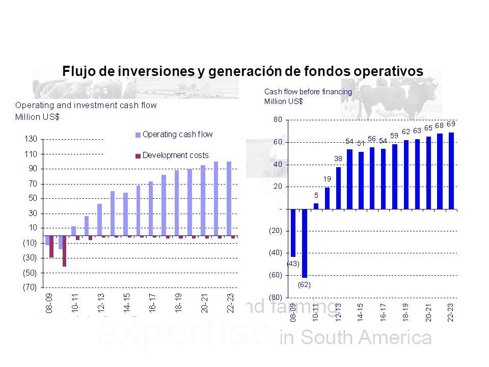 Flujo de inversiones y generación de fondos operativos