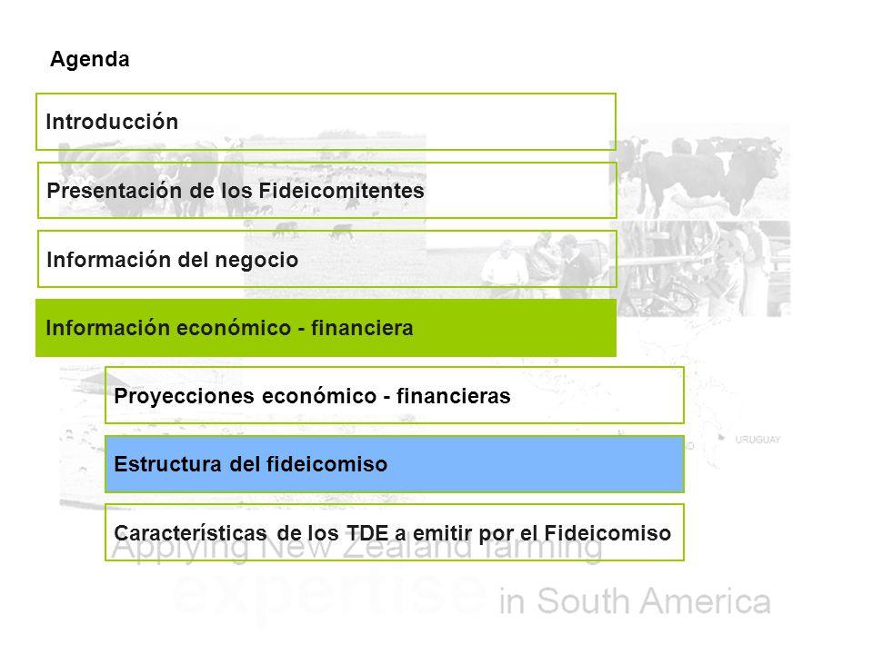 Agenda Presentación de los Fideicomitentes Información del negocio Información económico - financiera Introducción Características de los TDE a emitir por el Fideicomiso Proyecciones económico - financieras Estructura del fideicomiso