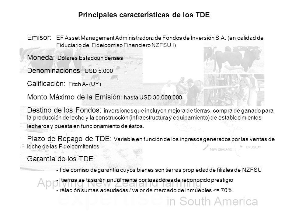 Principales características de los TDE Emisor: EF Asset Management Administradora de Fondos de Inversión S.A.