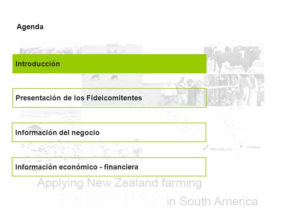 Agenda Introducción Presentación de los Fideicomitentes Información del negocio Información económico - financiera