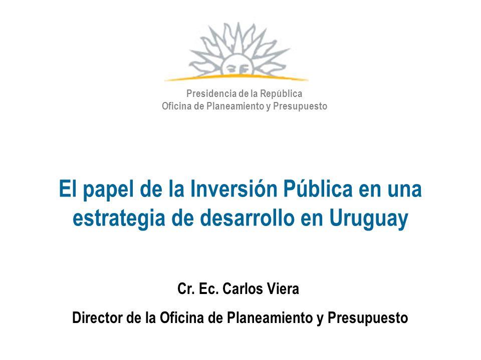 El papel de la Inversión Pública en una estrategia de desarrollo en Uruguay Presidencia de la República Oficina de Planeamiento y Presupuesto Cr. Ec.