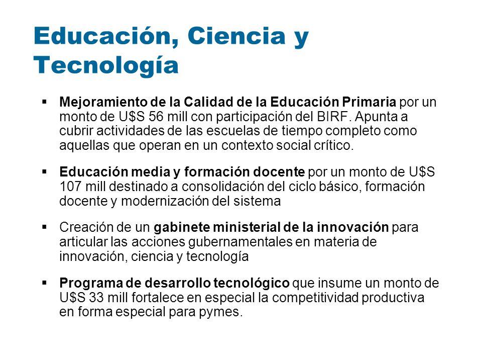 Educación, Ciencia y Tecnología Mejoramiento de la Calidad de la Educación Primaria por un monto de U$S 56 mill con participación del BIRF. Apunta a c