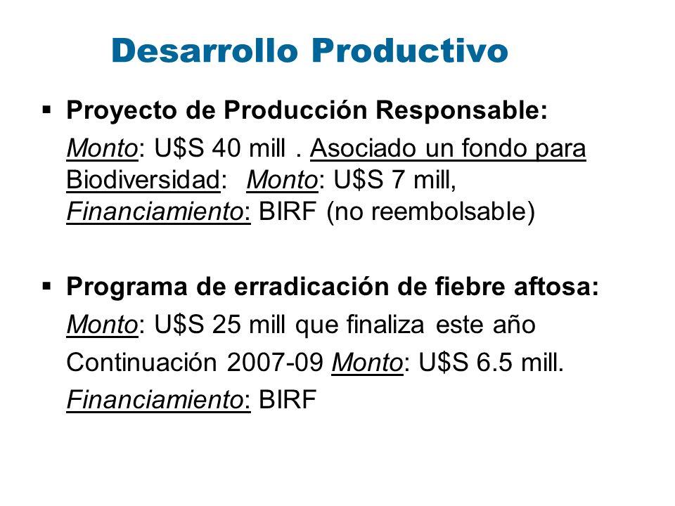 Desarrollo Productivo Proyecto de Producción Responsable: Monto: U$S 40 mill. Asociado un fondo para Biodiversidad: Monto: U$S 7 mill, Financiamiento: