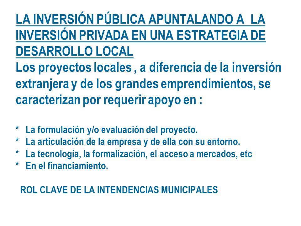 LA INVERSIÓN PÚBLICA APUNTALANDO A LA INVERSIÓN PRIVADA EN UNA ESTRATEGIA DE DESARROLLO LOCAL Los proyectos locales, a diferencia de la inversión extr