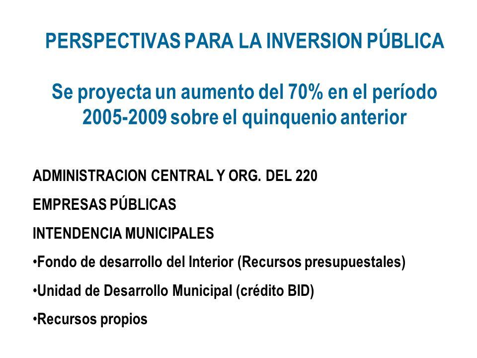 PERSPECTIVAS PARA LA INVERSION PÚBLICA Se proyecta un aumento del 70% en el período 2005-2009 sobre el quinquenio anterior ADMINISTRACION CENTRAL Y OR