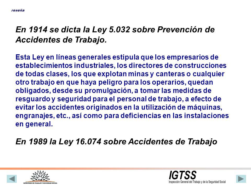 Normativa Nacional y Convenios Internacionales de Trabajo 1914 Ley 5.032 Prevención de Accidentes de Trabajo 1988 Dec.
