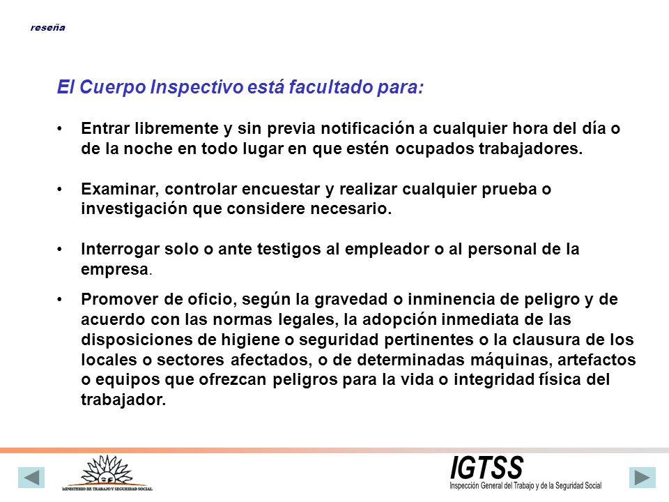INTEGRACION El Cuerpo Inspectivo se divide en dos áreas bien definidas: CONDICIONES GENERALES DE TRABAJO CONDICIONES AMBIENTALES DE TRABAJO reseña