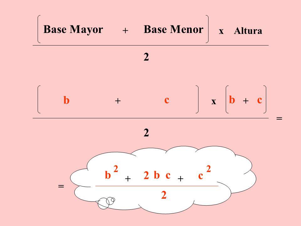 2° Procedimiento Hallamos el Área del Trapecio utilizando su fórmula AB C c a b A B C c a b