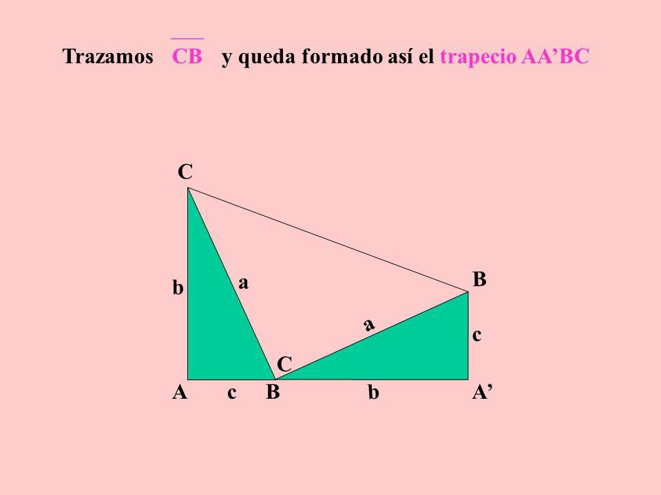 AB C c a b A B C c a b Al triángulo ABC le efectuamos una rotación de 90° sentido antihorario y a la figura obtenida, una traslación según vector b+c, resultando la siguiente figura: