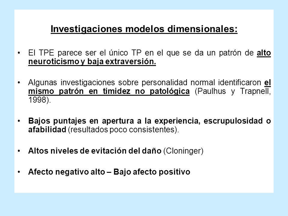Investigaciones modelos dimensionales: El TPE parece ser el único TP en el que se da un patrón de alto neuroticismo y baja extraversión. Algunas inves