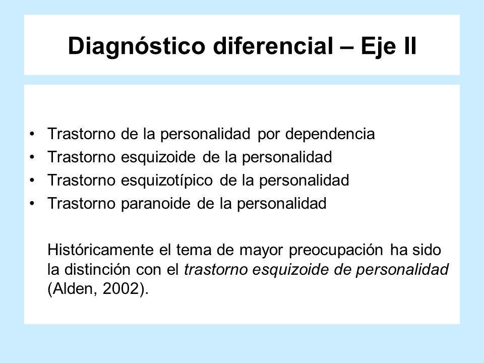 Diagnóstico diferencial – Eje II Trastorno de la personalidad por dependencia Trastorno esquizoide de la personalidad Trastorno esquizotípico de la pe