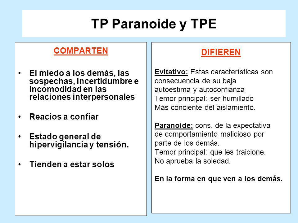 TP Paranoide y TPE COMPARTEN El miedo a los demás, las sospechas, incertidumbre e incomodidad en las relaciones interpersonales Reacios a confiar Esta