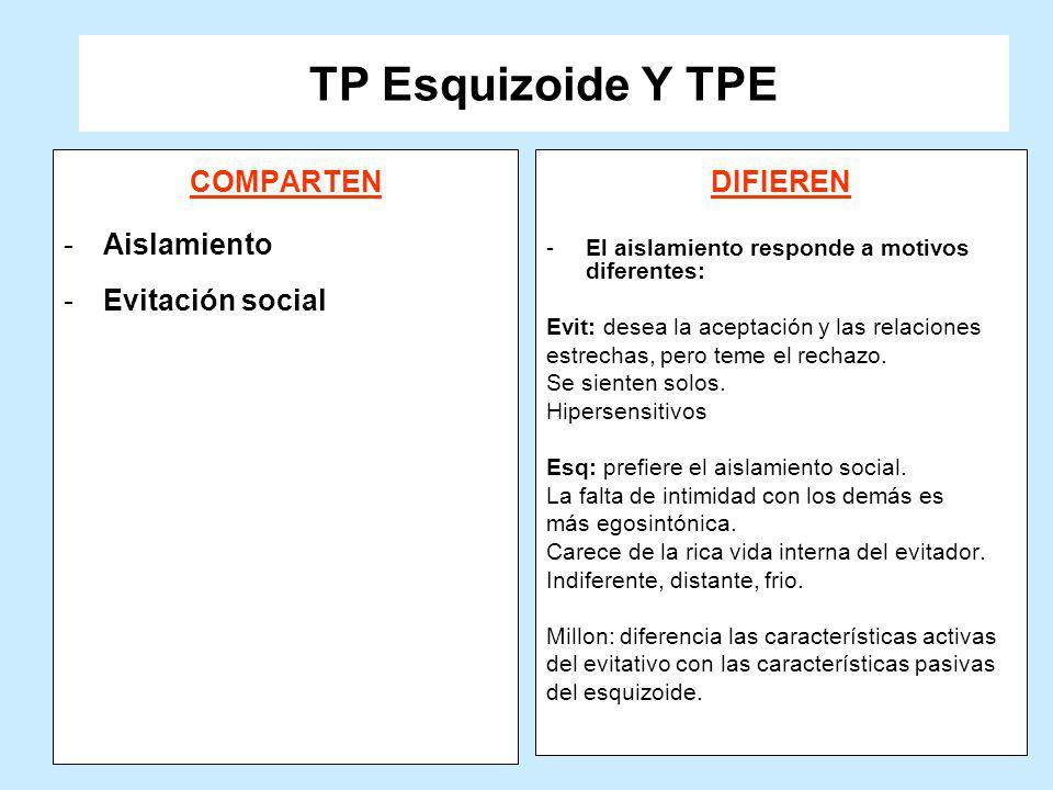 TP Esquizoide Y TPE COMPARTEN -Aislamiento -Evitación social DIFIEREN -El aislamiento responde a motivos diferentes: Evit: desea la aceptación y las r