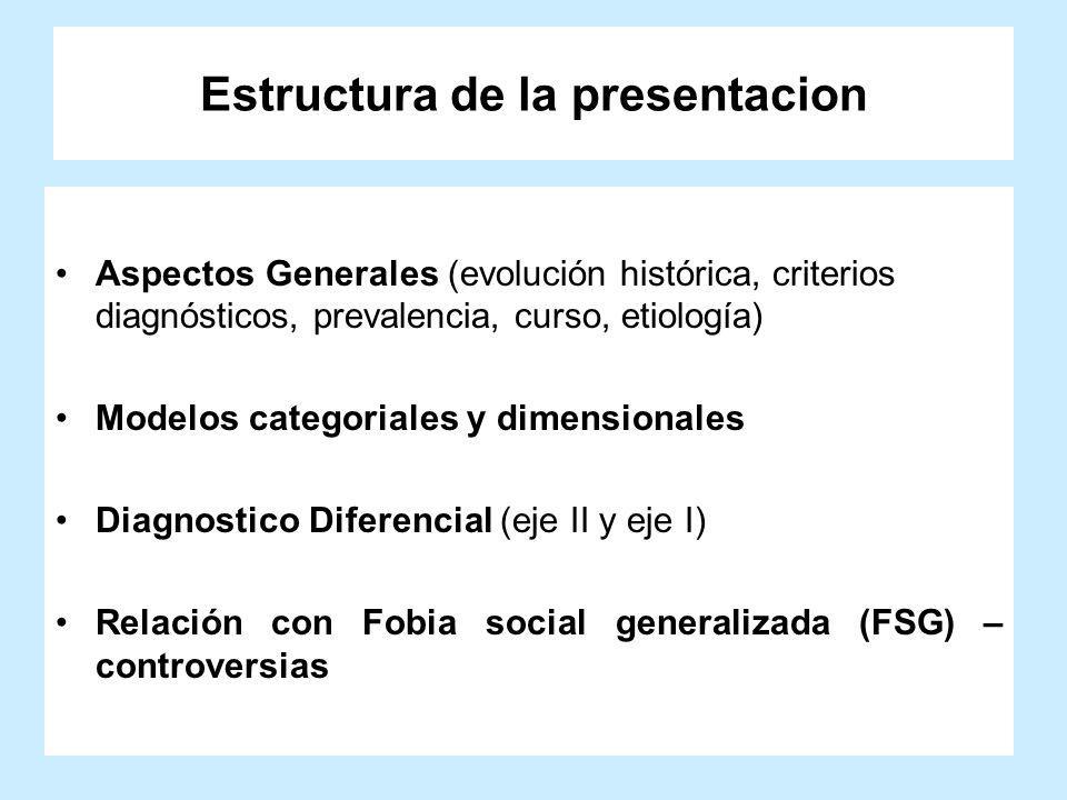 Estructura de la presentacion Aspectos Generales (evolución histórica, criterios diagnósticos, prevalencia, curso, etiología) Modelos categoriales y d