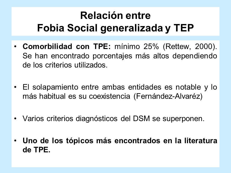Relación entre Fobia Social generalizada y TEP Comorbilidad con TPE: mínimo 25% (Rettew, 2000). Se han encontrado porcentajes más altos dependiendo de
