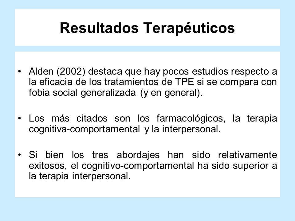 Resultados Terapéuticos Alden (2002) destaca que hay pocos estudios respecto a la eficacia de los tratamientos de TPE si se compara con fobia social g