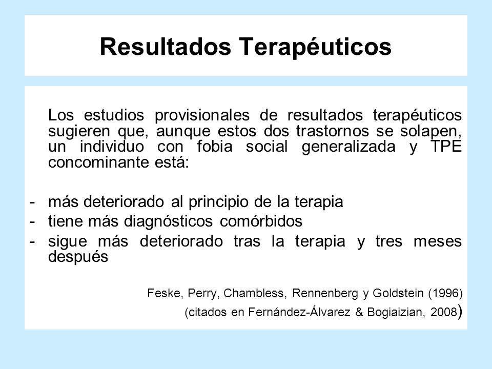 Resultados Terapéuticos Los estudios provisionales de resultados terapéuticos sugieren que, aunque estos dos trastornos se solapen, un individuo con f