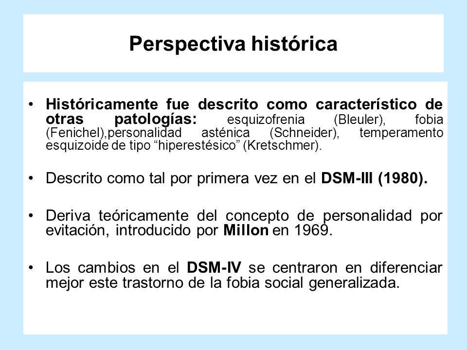 Perspectiva histórica Históricamente fue descrito como característico de otras patologías: esquizofrenia (Bleuler), fobia (Fenichel),personalidad asté