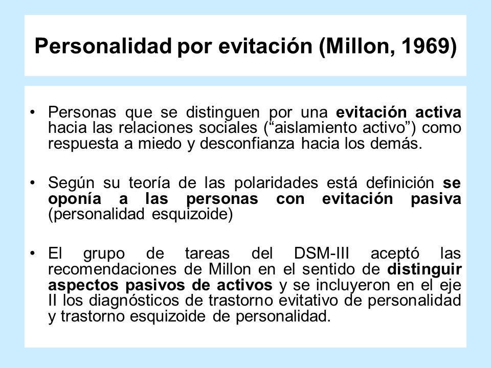 Personalidad por evitación (Millon, 1969) Personas que se distinguen por una evitación activa hacia las relaciones sociales (aislamiento activo) como