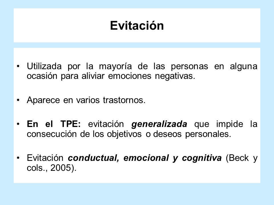 Evitación Utilizada por la mayoría de las personas en alguna ocasión para aliviar emociones negativas. Aparece en varios trastornos. En el TPE: evitac