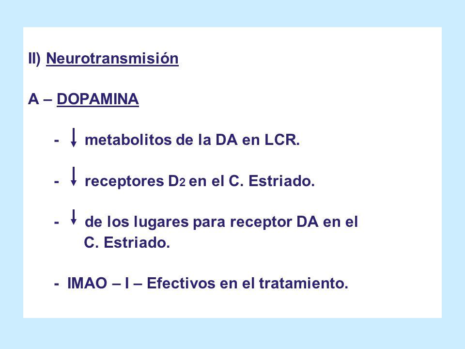 II) Neurotransmisión A – DOPAMINA - metabolitos de la DA en LCR. - receptores D 2 en el C. Estriado. - de los lugares para receptor DA en el C. Estria